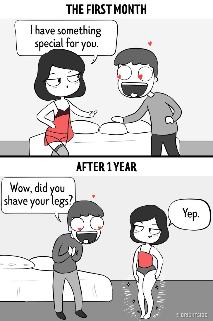 Cartoon - THE FIRST MONTH I have something special for you. AFTER 1 YEAR Wow, did you |shave your legs? Yep BRIGHTSIDE