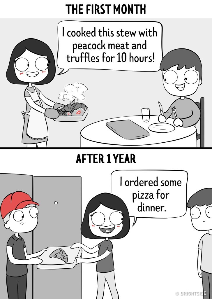 Cartoon - THE FIRST MONTH I cooked this stew with peacock meat and truffles for 10 hours! AFTER 1YEAR I ordered some pizza for dinner. BRIGHTSIDE