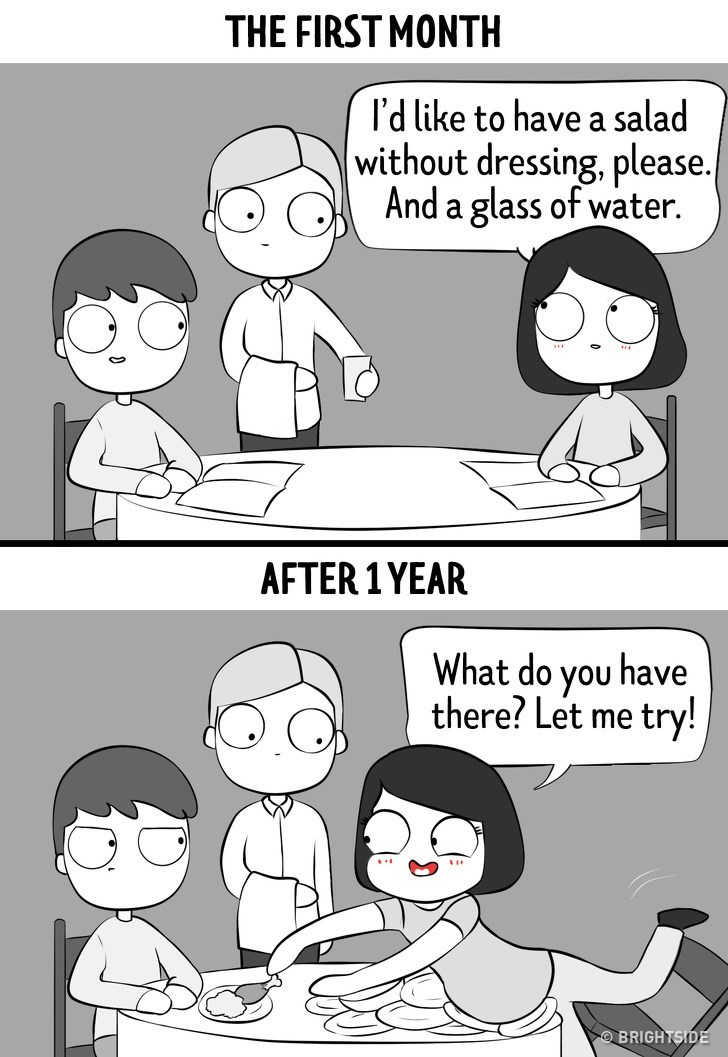 Cartoon - THE FIRST MONTH I'd like to have a salad without dressing, please.| And a glass of water. AFTER 1 YEAR What do you have there? Let me try! BRIGHTSIDE