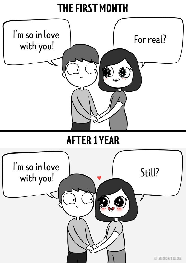 Cartoon - THE FIRST MONTH I'm so in love with you! For real? AFTER 1YEAR I'm so in love with you! Still? BRIGHTSIDE
