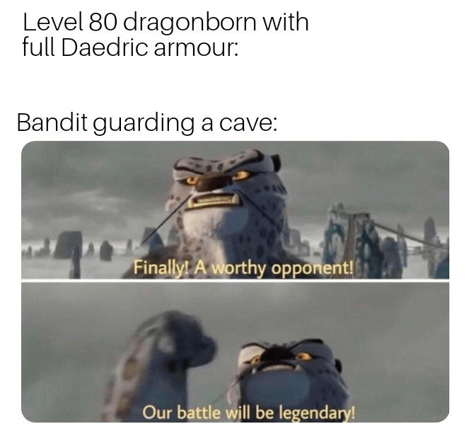 Text - Level 80 dragonborn with full Daedric armour: Bandit guarding a cave: Finally! A worthy opporient! Our battle will be legendary!