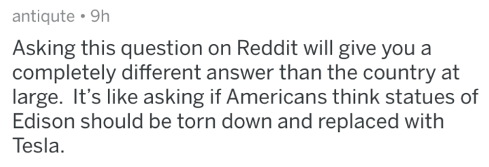 Text - antiqute 9h Asking this question on Reddit will give you a completely different answer than the country at large. It's like asking if Americans think statues of Edison should be torn down and replaced with Tesla.