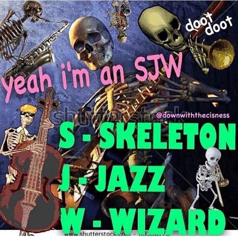 Music - doot doot yeah i'm an STW பம் S-SKELETON JAZZ W-WIZARD @downwiththecisness Www.shutterstock.co..