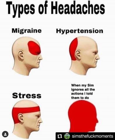 Face - Types of Headaches Migraine Hypertension When my Sim ignores all the actions i told Stress them to do simsthefuckmoments