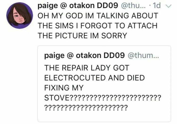 Text - paige @ otakon DD09 @thu... 1d OH MY GOD IM TALKING ABOUT THE SIMS I FORGOT TO ATTACH THE PICTURE IM SORRY paige @ otakon DD09 @thum... THE REPAIR LADY GOT ELECTROCUTED AND DIED FIXING MY STOVE??????????????????????? ?????????????????????