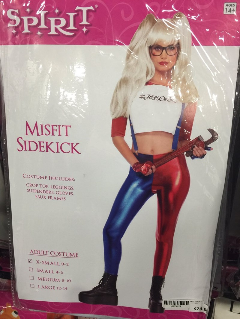 Clothing - AGES 14+ SPIRIT #JoesOn MISFIT SIDEKICK COSTUME INCLUDES: CROP TOP. LEGGINGS SUSPENDERS. GLOVES FAUX FRAMES ADULT COSTUME X-SMALL 0-2 SMALL 4-6 MEDIUM 8-10 LARGE 12-14 01336114