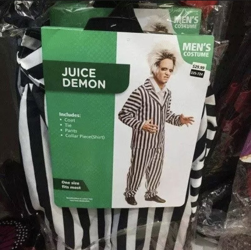 Green - MEN'S COSTUME MEN'S COSTUME $29.99 225-724 JUICE DEMON Includes: Coat Tie Pants Collar Piece(Shirt) One size fits most