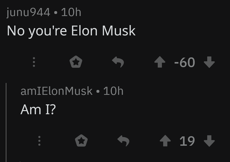 Text - junu944 10h No you're Elon Musk -60 amIElonMusk 10h Am I? t 19