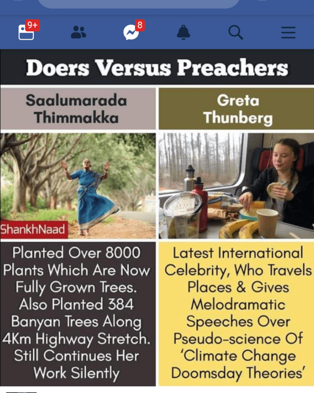 Font - 9+ 8 Doers Versus Preachers Saalumarada Thimmakka Greta Thunberg ShankhNaad Planted Over 8000 Plants Which Are Now Celebrity, Who Travels Fully Grown Trees. Also Planted 384 Banyan Trees Along 4Km Highway Stretch. Still Continues Her Work Silently Latest International Places&Gives Melodramatic Speeches Over Pseudo-science Of 'Climate Change Doomsday Theories' 1I