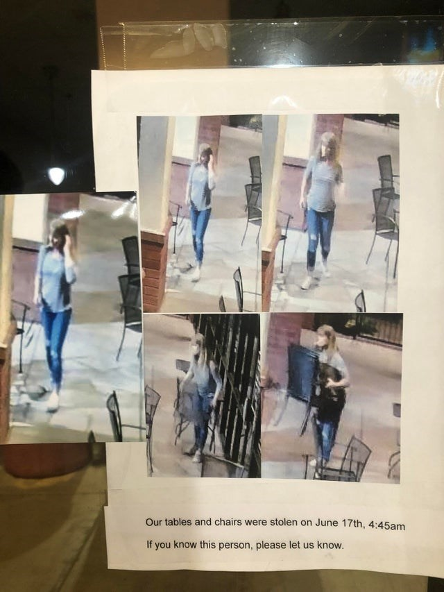 Design - Our tables and chairs were stolen on June 17th, 4:45am If you know this person, please let us know.
