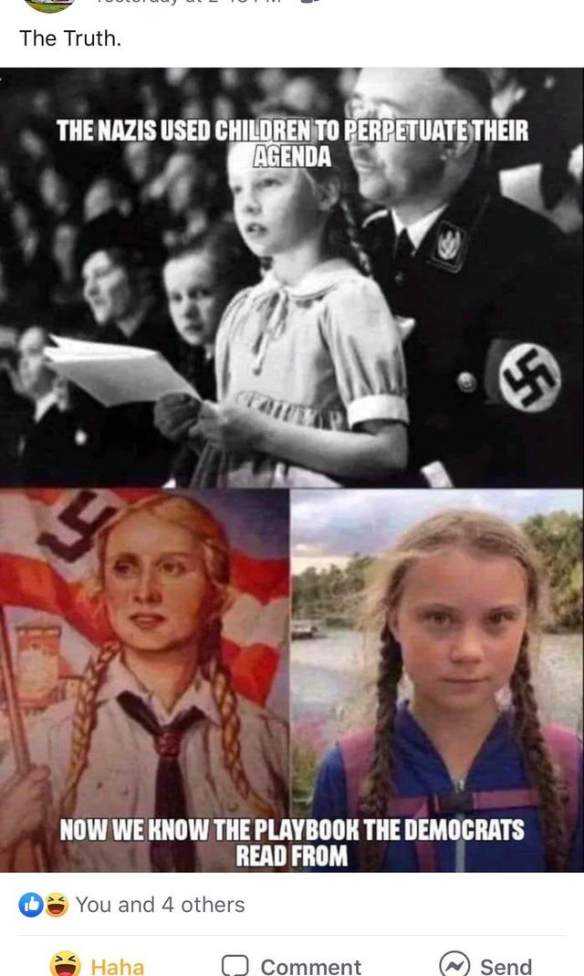 Photo caption - The Truth THE NAZIS USED CHILDREN TO PERPETUATE THEIR AGENDA NOW WE HNOW THE PLAYBOOK THE DEMOCRATS READ FROM You and 4 others Haha Comment Send