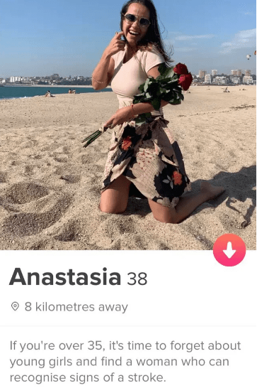 Joint - Anastasia 38 8 kilometres away If you're over 35, it's time to forget about young girls and find a woman who can recognise signs of a stroke.