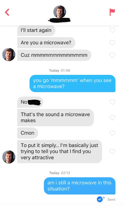 Text - I'll start again Are you a microwave? Cuz mmmmmmmmmmmmm Today 01:48 you go 'mmmmmm' when you see a microwave? No That's the sound a microwave makes Cmon To put it simply. I'm basically just trying to tell you that I find you very attractive Today 02:13 am i still a microwave in this situation? Sent L