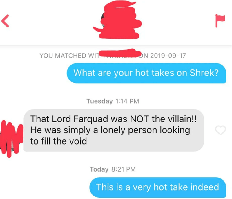 Text - YOU MATCHED WIT ON 2019-09-17 What are your hot takes on Shrek? Tuesday 1:14 PM That Lord Farquad was NOT the villain!! He was simply a lonely person looking to fill the void Today 8:21 PM This is a very hot take indeed
