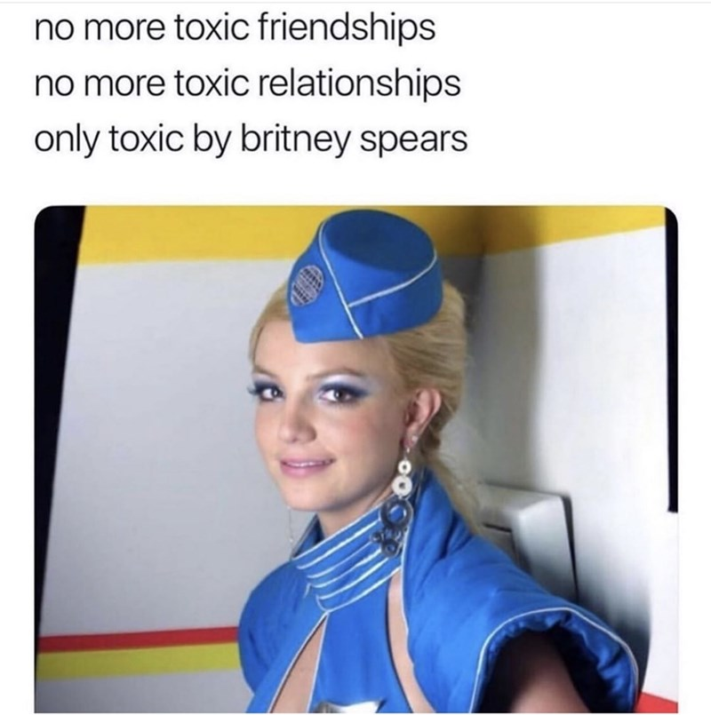 Electric blue - no more toxic friendships no more toxic relationships only toxic by britney spears