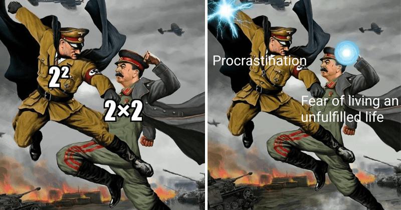 Hitler vs Stalin memes, school memes, dank memes, relatable memes