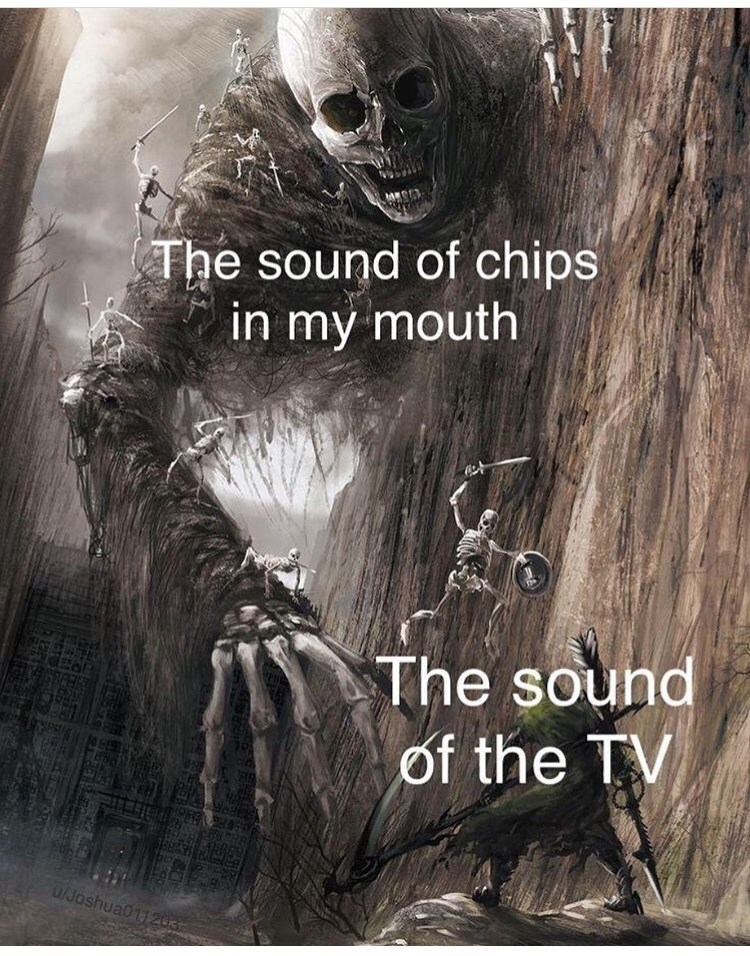 Photo caption - The sound of chips in my mouth The sound of the TV /Joshua011203