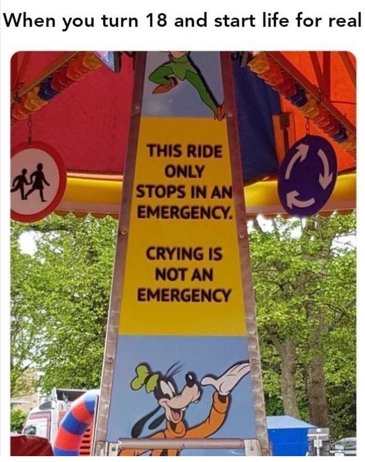 Signage - When you turn 18 and start life for real THIS RIDE ONLY STOPS IN AN EMERGENCY CRYING IS NOT AN EMERGENCY