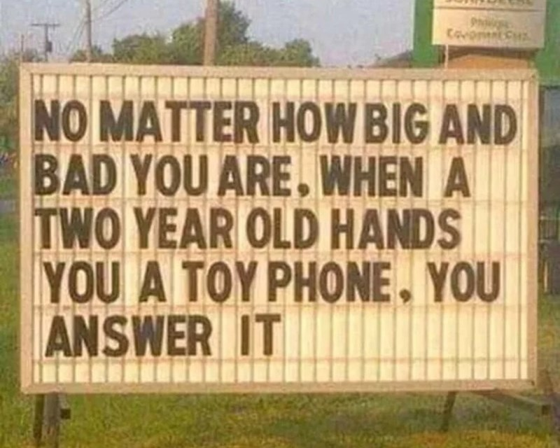 Text - NO MATTER HOWBIG AND BAD YOU ARE. WHEN A TWO YEAR OLD HANDS YOU A TOY PHONE. YOU ANSWER IT