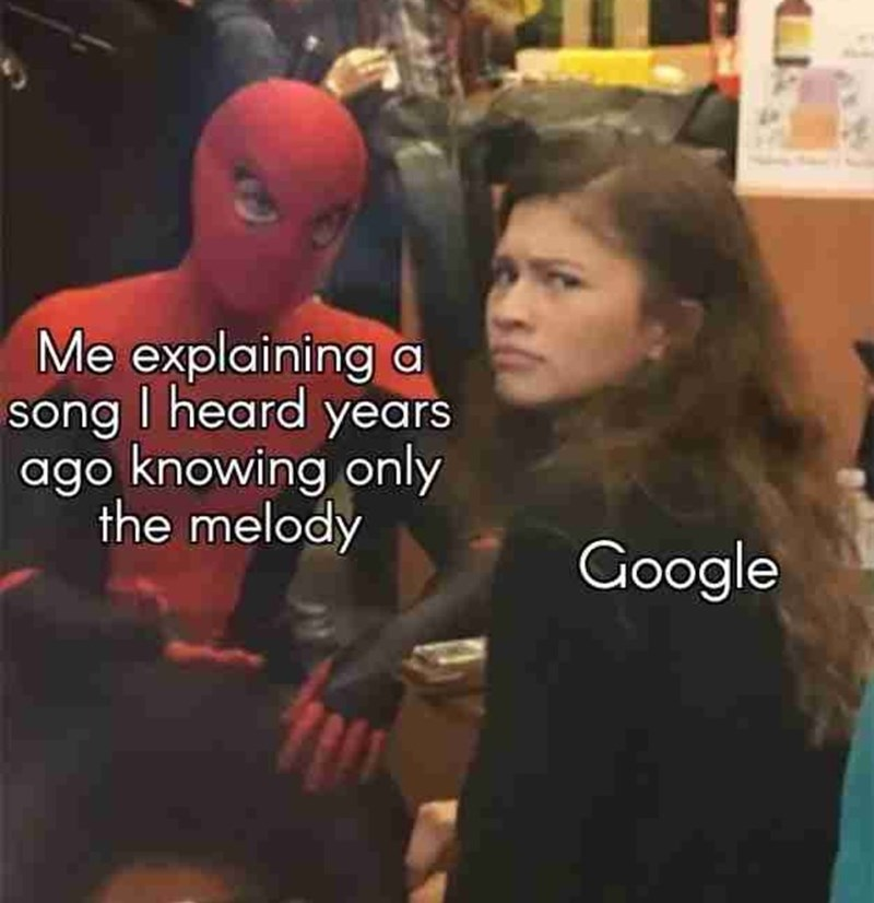 Photo caption - Me explaining a song I heard years ago knowing only the melody Google