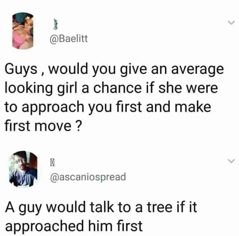 Text - @Baelitt Guys, would you give an average looking girl a chance if she were to approach you first and make first move? @ascaniospread A guy would talk to a tree if it approached him first