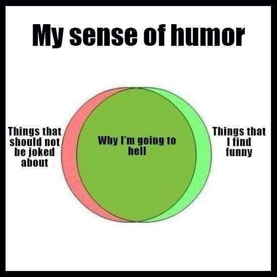 Text - My sense of humor Things that should not be joked about Things that I find funny Why I'm going to hell