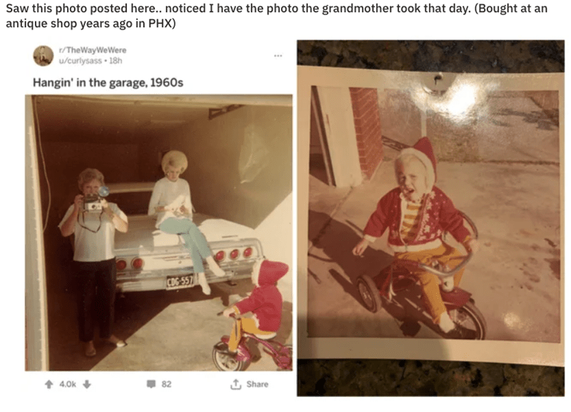 Photograph - Saw this photo posted here.. noticed I have the photo the grandmother took that day. (Bought at an antique shop years ago in PHX) 1/TheWayWeWere w/curlysass 18h Hangin' in the garage, 1960s CDG-557 t Share 82 4.0k