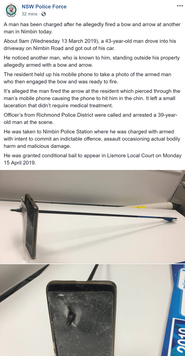 Automotive exterior - NSW Police Force 32 mins A man has been charged after he allegedly fired a bow and arrow at another man in Nimbin today. About 9am (Wednesday 13 March 2019), a 43-year-old man drove into his driveway on Nimbin Road and got out of his car He noticed another man, who is known to him, standing outside his property allegedly armed with a bow and arrow. The resident held up his mobile phone to take a photo of the armed man who then engaged the bow and was ready to fire It's alle