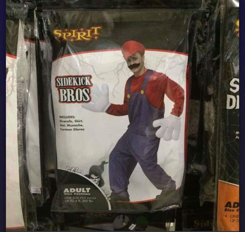 Action figure - $plRTT SIDEKICK S DI BROS INCLUDES Overalls, Shirt Hat, Mustache, Cartoon Gloves IN 22 ADULT StreCostme ONE SIZE FTSMOST OP TO o 200 Rbe AD Size ONE LUP T Sp