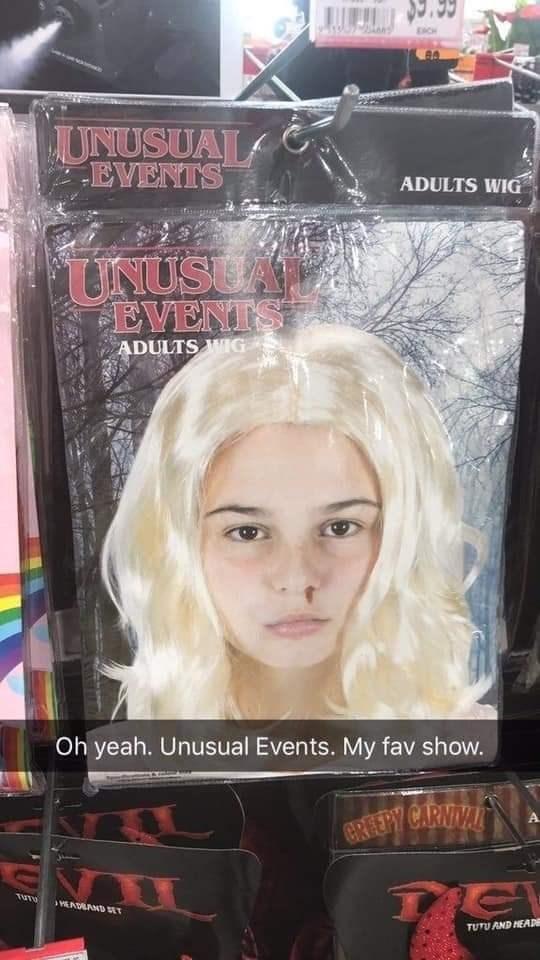 Hair - JUNUSUAL EVENTS ADULTS WIG UNUSEA EVENTS ADULTS WIG Oh yeah. Unusual Events. My fav show. CREEPY CARNIVAT TUT YEADAAND ET TUTU AND HEAD