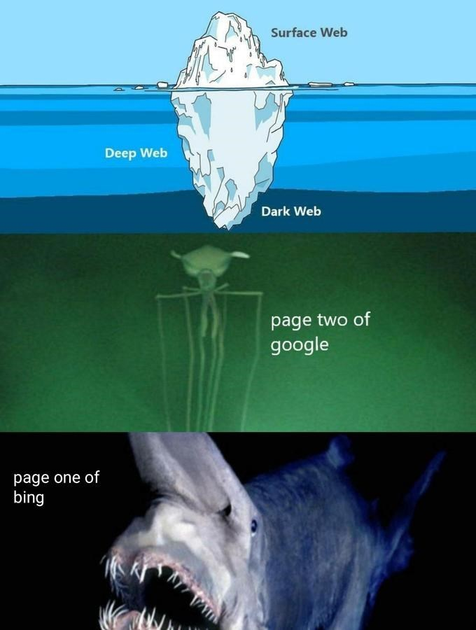 Jaw - Surface Web Deep Web Dark Web page two of google page one of bing