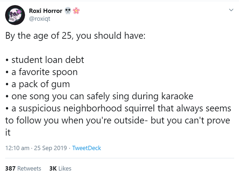 Text - Text - Roxi Horror @roxiqt By the age of 25, you should have: student loan debt a favorite spoon a pack of gum one song you can safely sing during karaoke a suspicious neighborhood squirrel that always seems to follow you when you're outside- but you can't prove it 12:10 am 25 Sep 2019 TweetDeck 3K Likes 387 Retweets