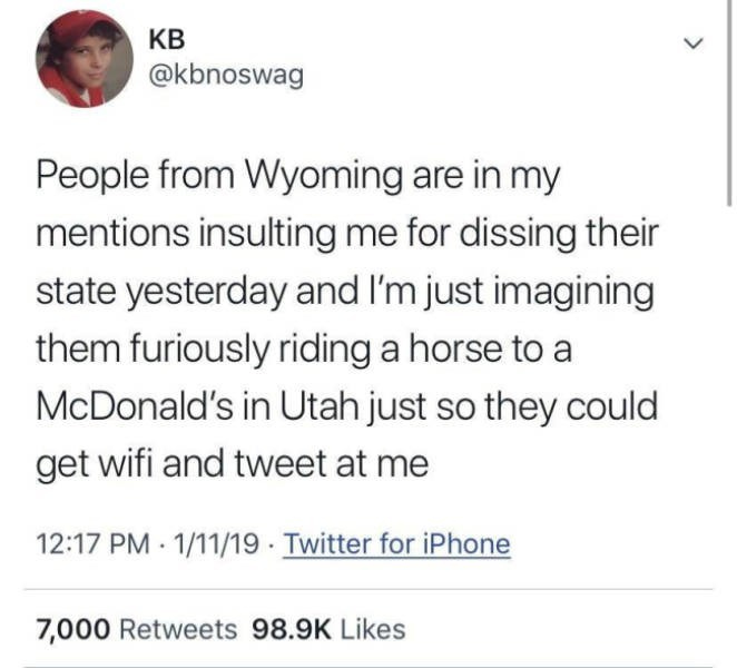 Text - КВ @kbnoswag People from Wyoming are in my mentions insulting me for dissing their state yesterday and I'm just imagining them furiously riding a horse to a McDonald's in Utah just so they could get wifi and tweet at me 12:17 PM 1/11/19 Twitter for iPhone 7,000 Retweets 98.9K Likes