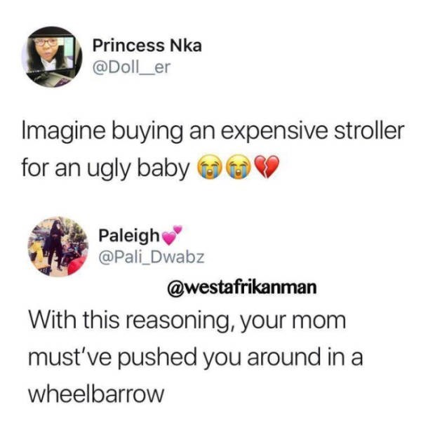 Text - Princess Nka @Doll_er Imagine buying an expensive stroller for an ugly baby Paleigh @Pali Dwabz @westafrikanman With this reasoning, your mom must've pushed you around in a wheelbarrow