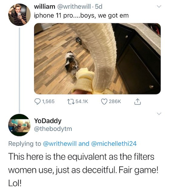 Text - william @writhewill 5d iphone 11 pro....boys, we got em t54.1K 1,565 286K YoDaddy @thebodytm Replying to @writhewill and @michellethi24 This here is the equivalent as the filters women use, just as deceitful. Fair game! Lol!