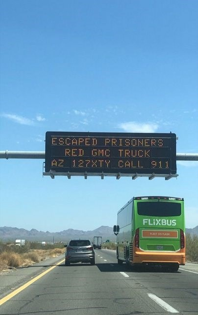 Highway - ESCAPED PRISONERS RED GMC TRUCK AZ 127XTY CALL 91 1 FLIXBUS FRT ON AK