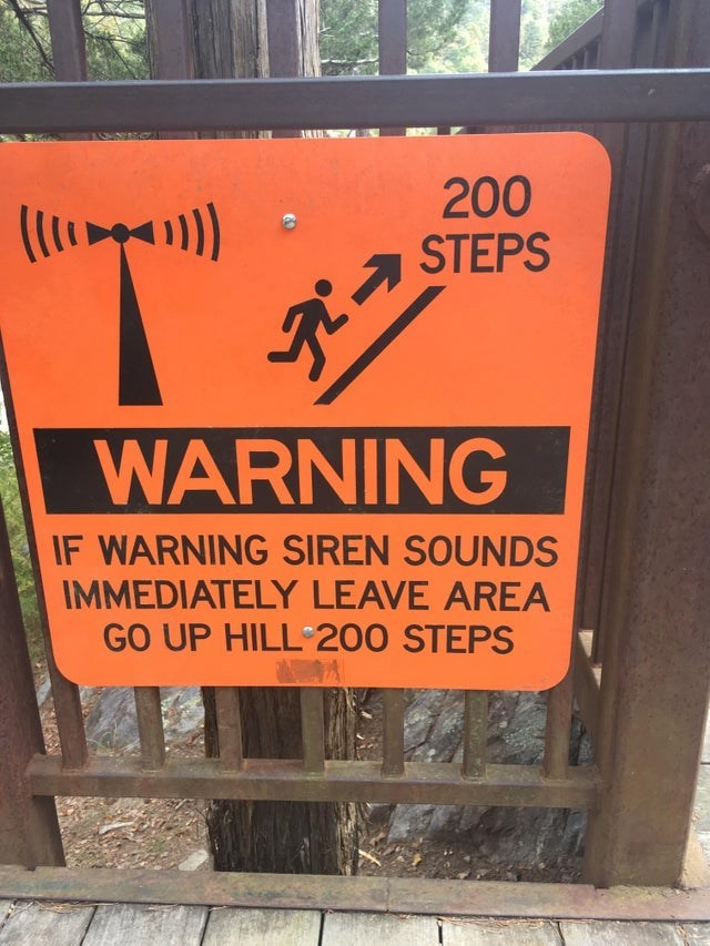 Text - 200 (lp1) STEPS WARNING IF WARNING SIREN SOUNDS IMMEDIATELY LEAVE AREA GO UP HILL 200 STEPS