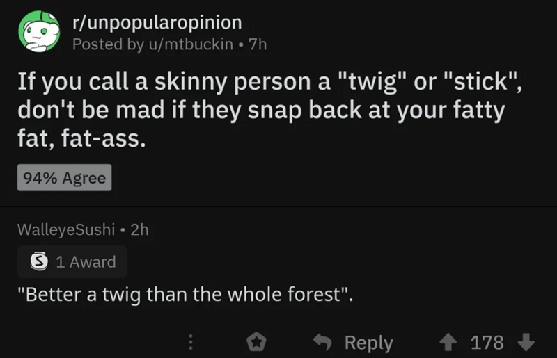 """Text - r/unpopularopinion Posted by u/mtbuckin 7h If you call a skinny person a """"twig"""" or """"stick"""", don't be mad if they snap back at your fatty fat, fat-ass. 94% Agree WalleyeSushi 2h S 1 Award """"Better a twig than the whole forest"""". Reply 178"""