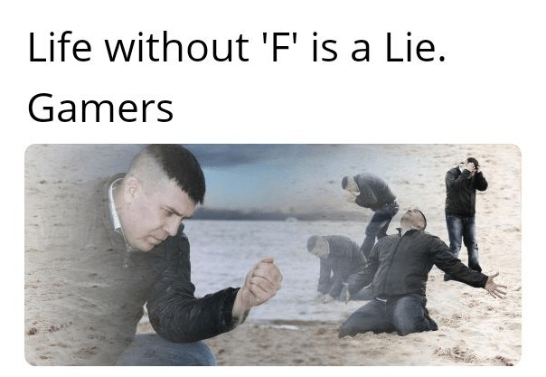Text - Life without 'F' is a Lie. Gamers