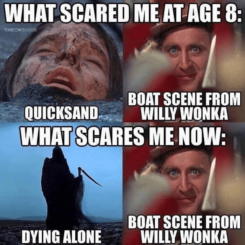 Funny meme about Willy wonka boat scene, movies, fear