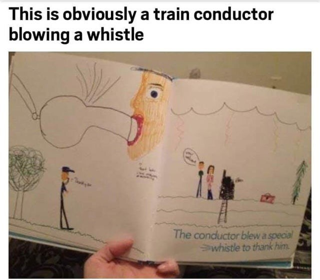 Text - This is obviously a train conductor blowing a whistle The conductor blew a special Swhistle to thank him