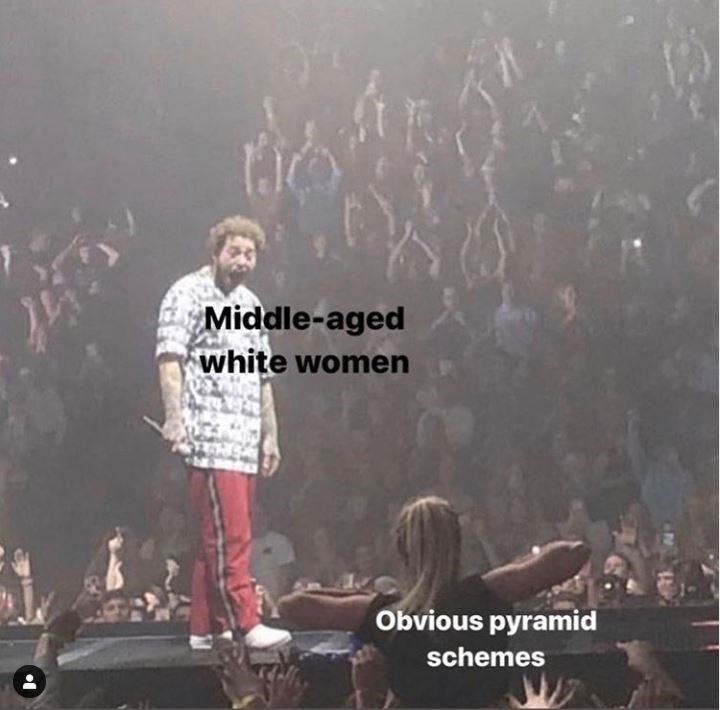 Performance - Middle-aged white women Obvious pyramid schemes