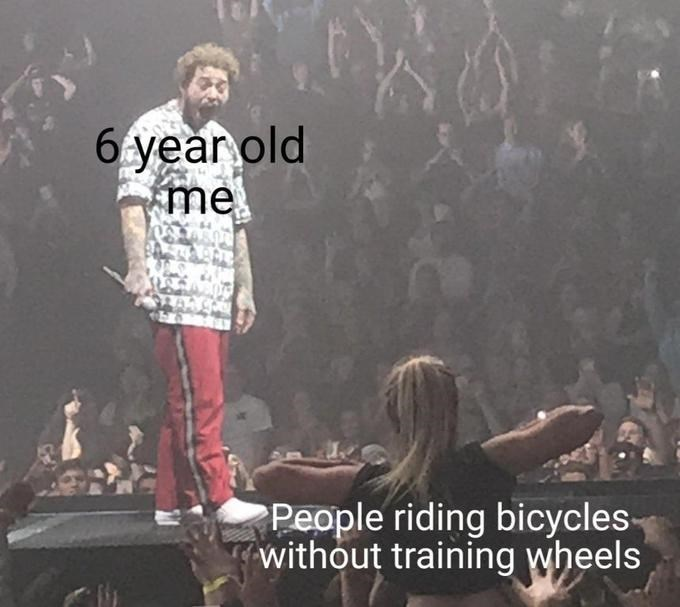Font - 6 year old me People riding bicycles- without training wheels