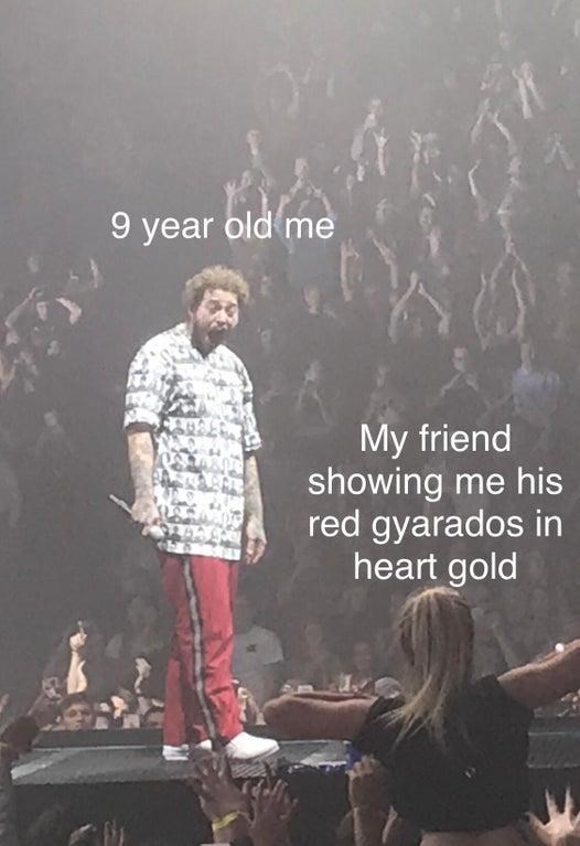 Text - 9 year old me My friend showing me his red gyarados in heart gold