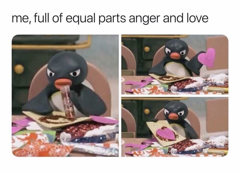 Flightless bird - me, full of equal parts anger and love