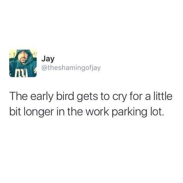 Text - Jay @theshamingofjay nu The early bird gets to cry for a little bit longer in the work parking lot.