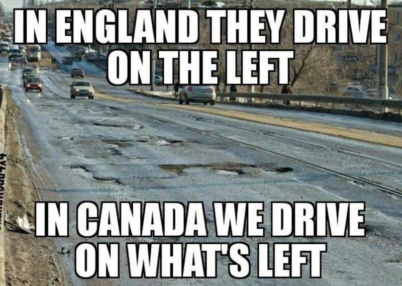 Font - IN ENGLAND THEY DRIVE ON THE LEFT IN CANADA WE DRIVE ON WHAT'S LEFT