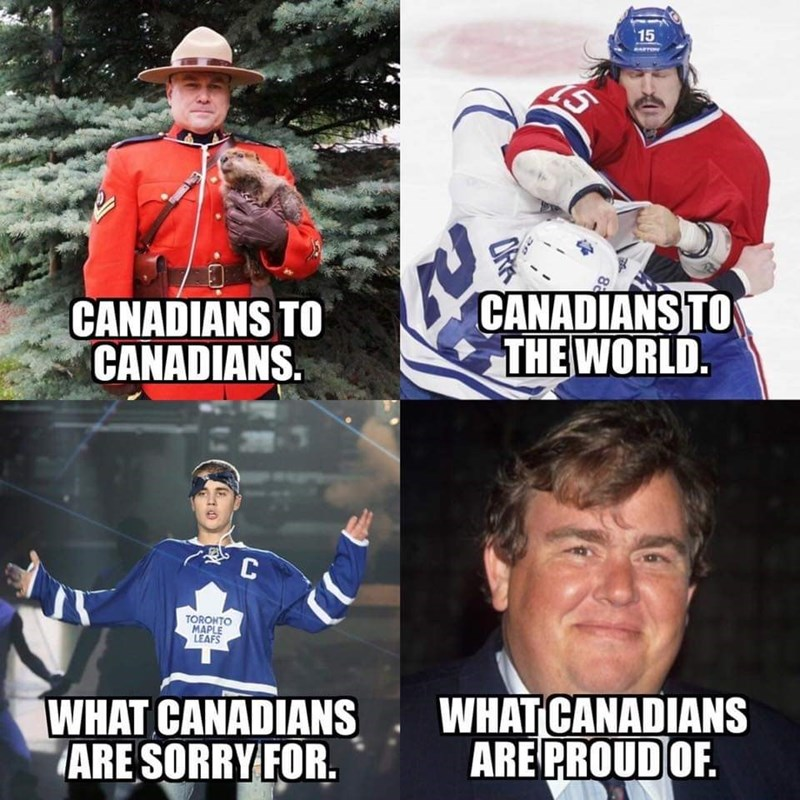 Photo caption - 15 ATO CANADIANSTO THE WORLD. CANADIANS TO CANADIANS C TORONTO MAPLE LEAFS WHAT CANADIANS ARE PROUD OF. WHAT CANADIANS ARE SORRY FOR. 8