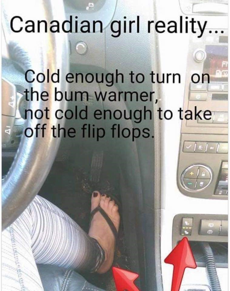 Text - Canadian girl reality... Cold enough to turn on the bum warmer, not cold enough to take off the flip flops.