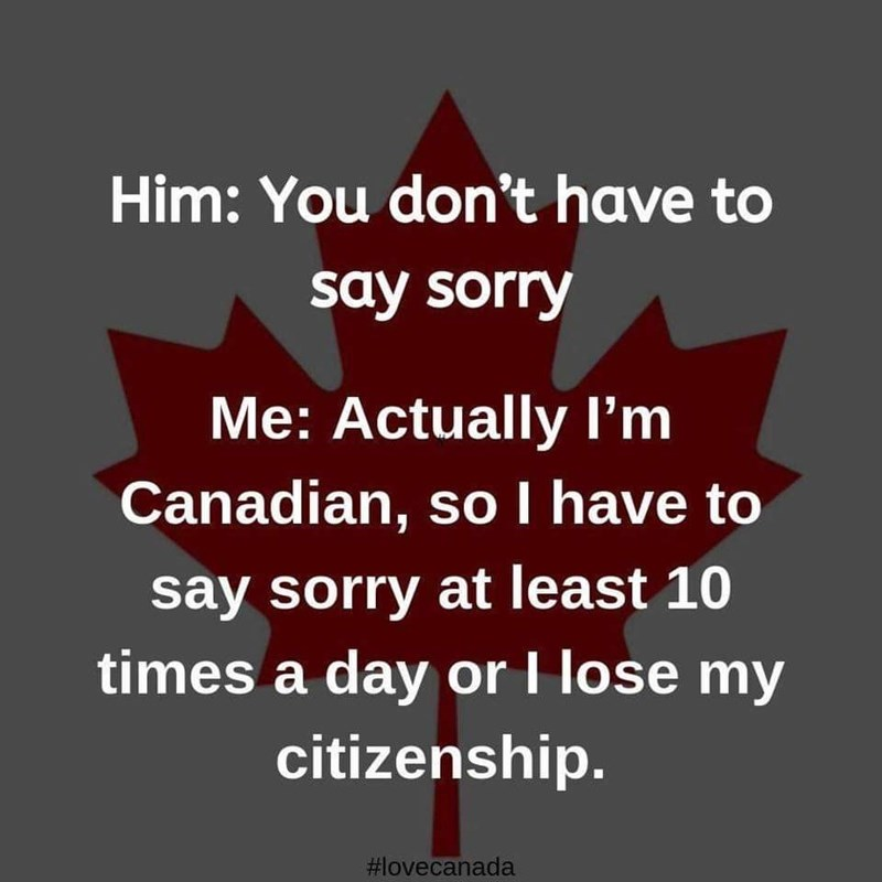 Text - Him: You don't have to say sorry Me: Actually I'm Canadian, soI have to say sorry at least 10 times a day or I lose my citizenship. #lovecanada